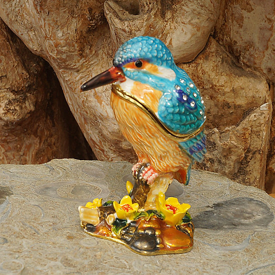 Cloisonne Kingfisher trinket box