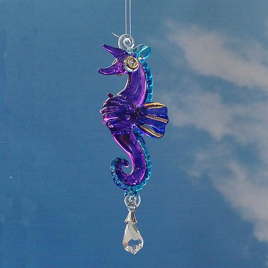 Purple Seahorse fantasy glass