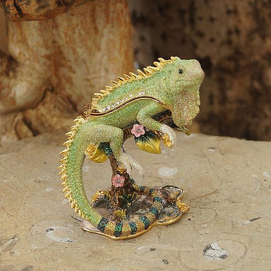Cloisonne Iguana Trinket Box