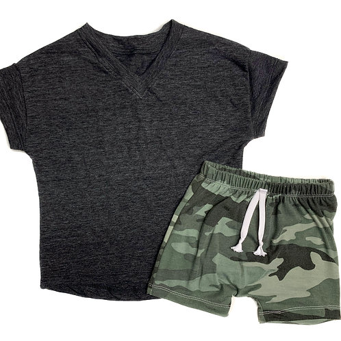 Camo Shorts/Grey Vneck Set