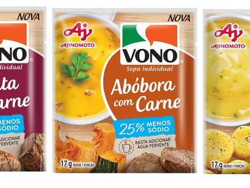 VONO® amplia linha de sopas individuais em versões com menos sódio