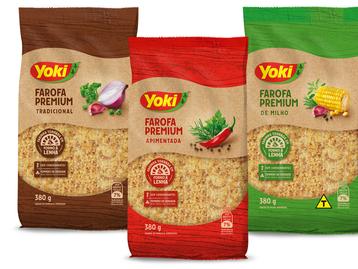 Yoki lança linha de farofas premium nos sabores tradicional, apimentada e milho