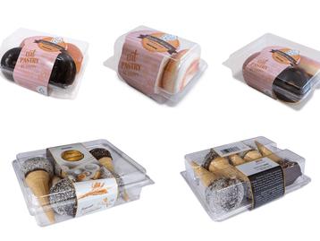 Sistema de rotulagem de embalagem completa para produtos de panificação em recipientes com tampa