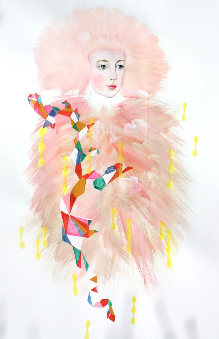 Pink Fur Hta Drawing 50x36 (2018)