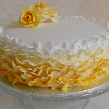 yellow ruffles cake