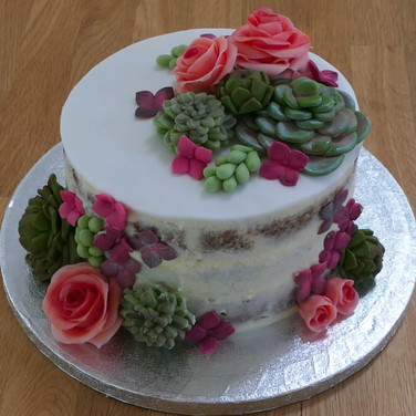 Succulent half naked cake