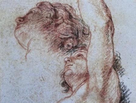 Cat. 2015 D. 27 - Étude de la tête, du torse et du bras gauche d'une figure masculine