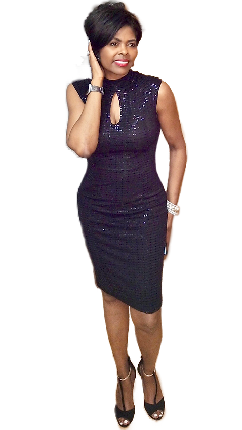 Toi Troutman-Walker in black cocktail dress with gold filter.