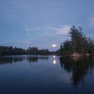 Moonlight Harvesting at Minerva Lake NY