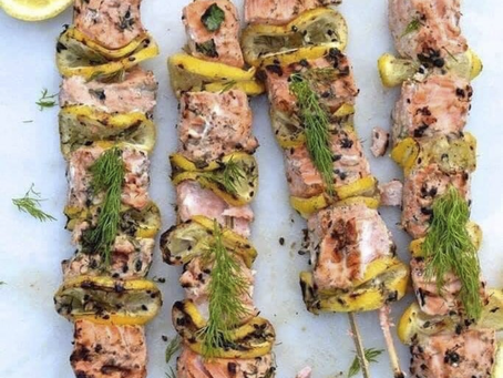 Easy, Grilled Healthy Salmon Kabobs