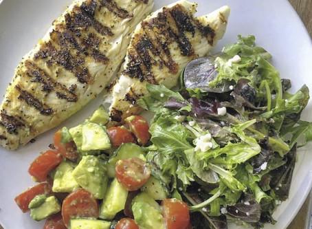 Grilled Fish & Mediterranean Summer Salad!