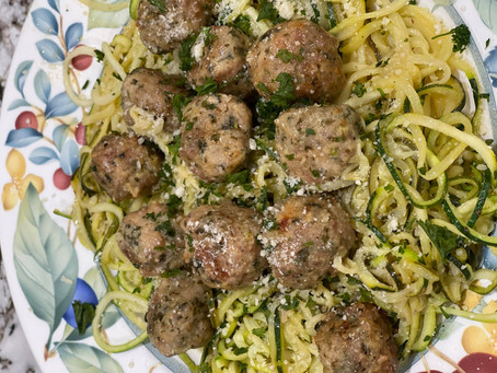 Garlic Meatballs with Lemon Butter Zoodles