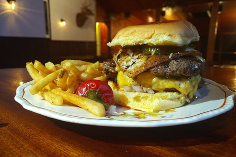"""Our double """"McDaniel"""" with fried egg......"""