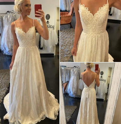 sweet dreams fulfilled in this adorable lace gown tiny spaghetti straps