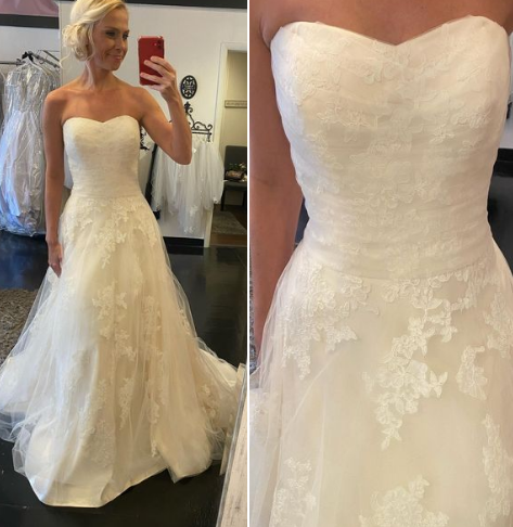 simple and Chic this flowing lace casual ivory gown