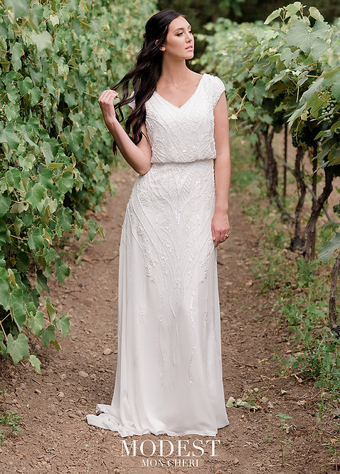 Unquestionably gorgeous beaded chiffon slim A-line
