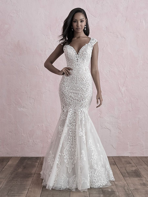 Classic lace appliqué creates the difference in detail size 12 nude