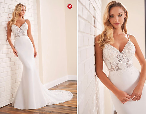 Lace and crêpe order now for the most romantic wedding