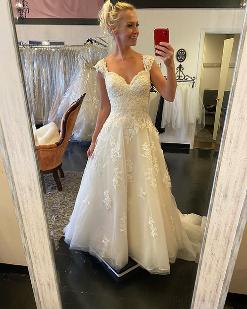 think outside the dress with this gorgeous Maggie Sottero in pale gold size 10