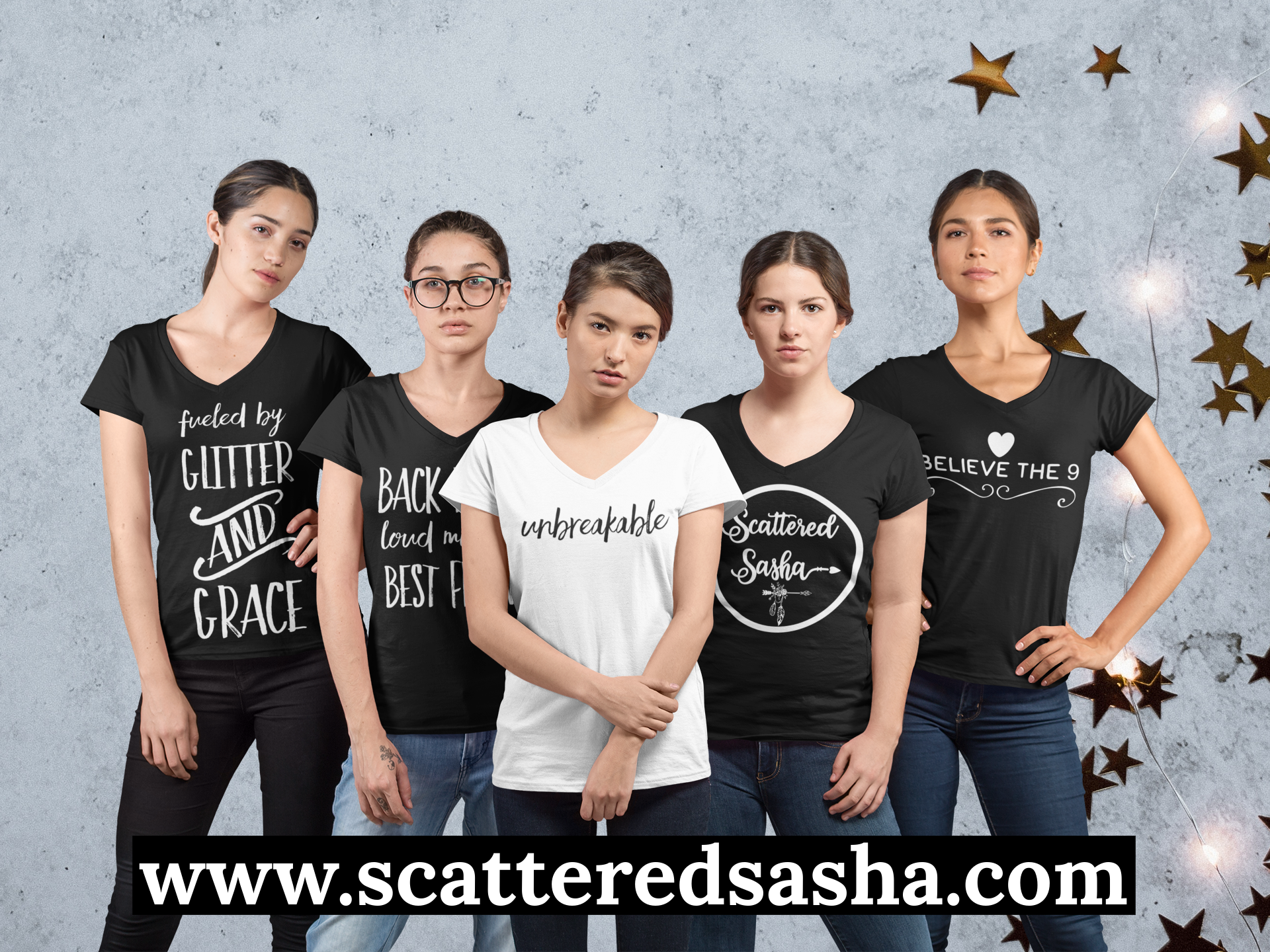 Promo-5 shirts on 5 young women