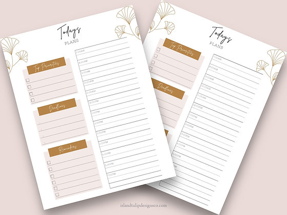 Today's Plans Planner insert- Pink