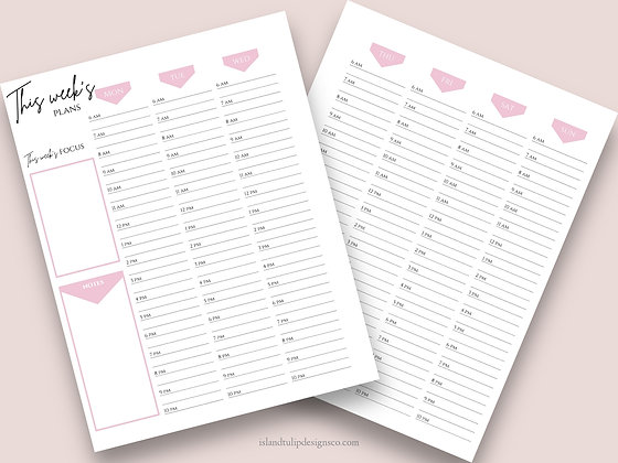 Weekly/Hourly Undated Canva Planner Template-The Pink Lady