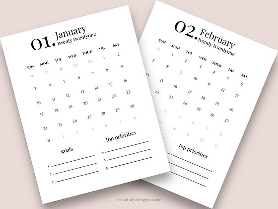 2021 One Page Calendar Canva Template - Betty