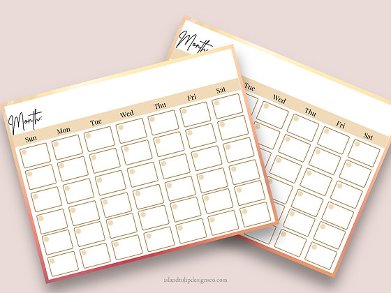 Landscape Monthly Planner Template - Sunset