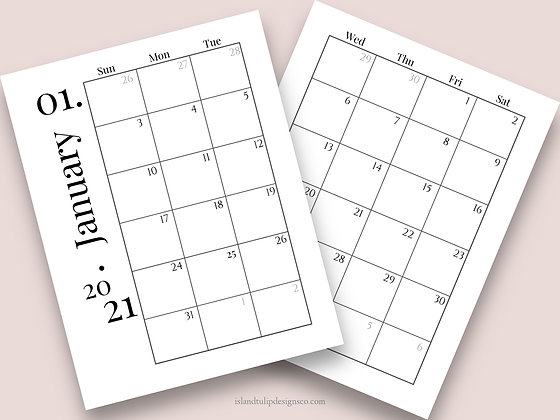 2021 Two Page Planner Template - Tess