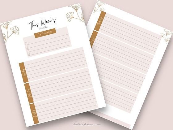 This Weeks Plans Weekly Planner Page -Pink