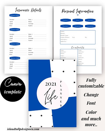 2021 Dated Life Planner Template