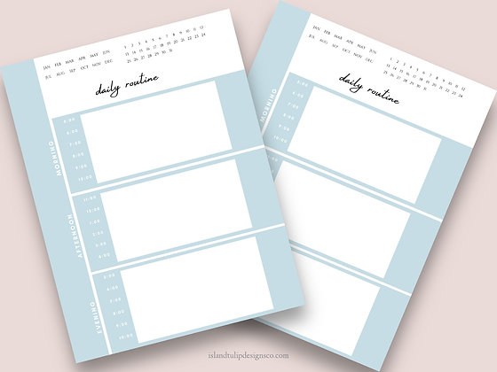 Undated Daily Canva Planner Template- Scenic Blue