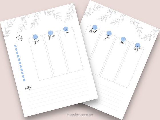 Vertical Two Page Weekly Planner Template - Destiny