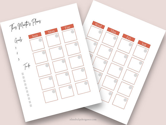 Monthly Two Page Planner Template - Facey