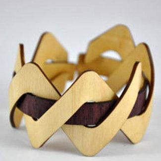 Maple and Purpleheart Flexible wooden cuff bracelet