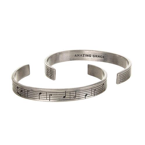 Amazing Grace Silver Cuff Quote Bracelet Sheet music
