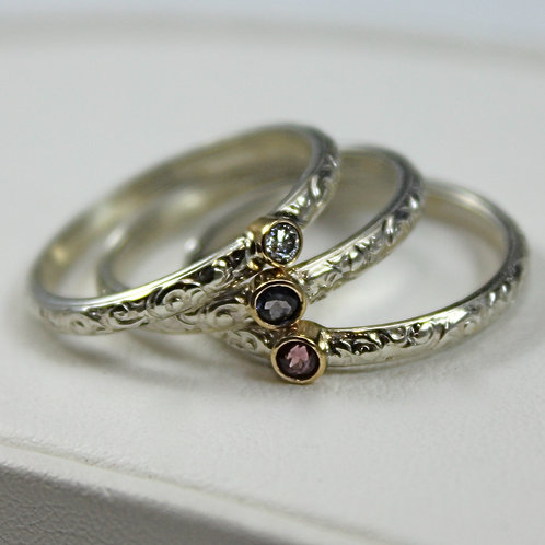 Brooke Barboza Stacking Rings set with Tanzanite, Rhodalite Garnet, and Diamond