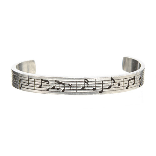 Music Note Universal language Silver Cuff Quote Bracelet