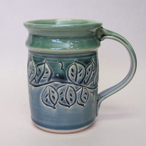 Handmade Blue Green Leaf Mug