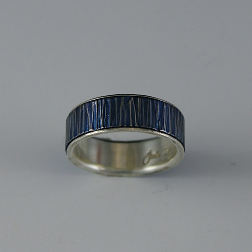 Tavia Blue Patina Titanium ring, silver liner, small