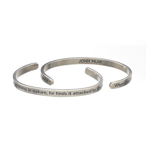 John Muir One tug at nature Silver Cuff Quote Bracelet
