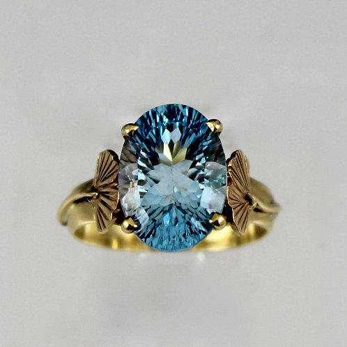 Cole Sheckler - Concave Cut Blue Topaz Ring with Ginkgo Leaves
