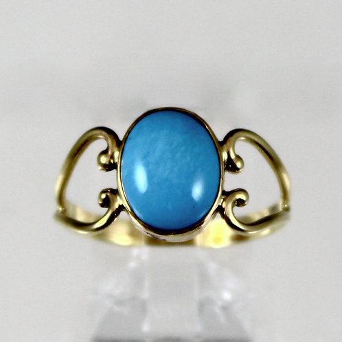 Cole Sheckler - 14KY Sleeping Beauty Turquoise Ring, Small Oval