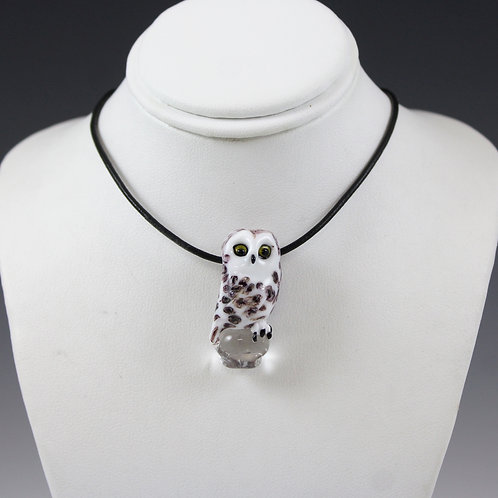 Stefani Woodams Glass Owl Pendants - Snowy Owl, Female 2