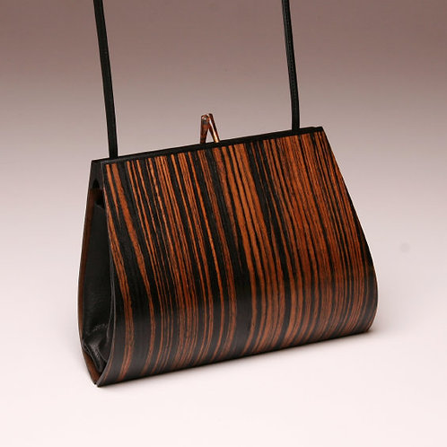 Handmade wooden purse bag Macassar Ebony