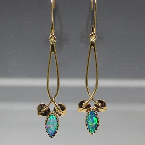 Cole Sheckler - Marquise Cut, Bezel Set Opals, Leverback Earrings