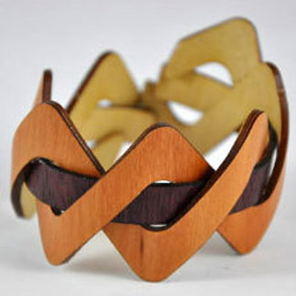 Madrone and Purpleheart flexible wooden cuff bracelet