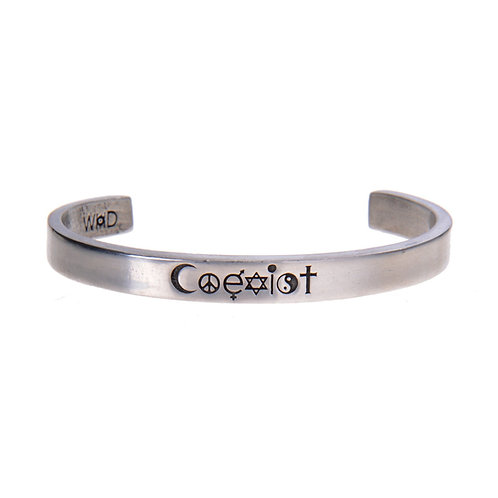 Coexist Silver Cuff Quote Bracelet