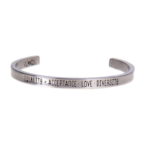 Equality Silver Cuff Quote Bracelet