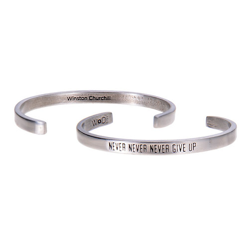 Winston Churchill Silver Cuff Quote Bracelet